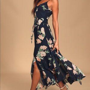Navy Blue Floral Print Maxi Dress NWT